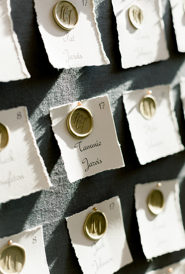 Escort card display wedding reception