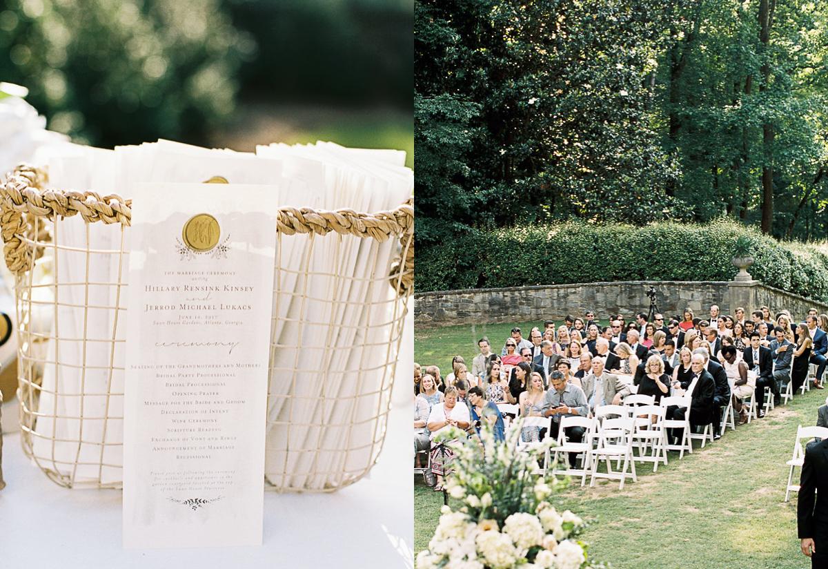 Wedding program wax seal gold white