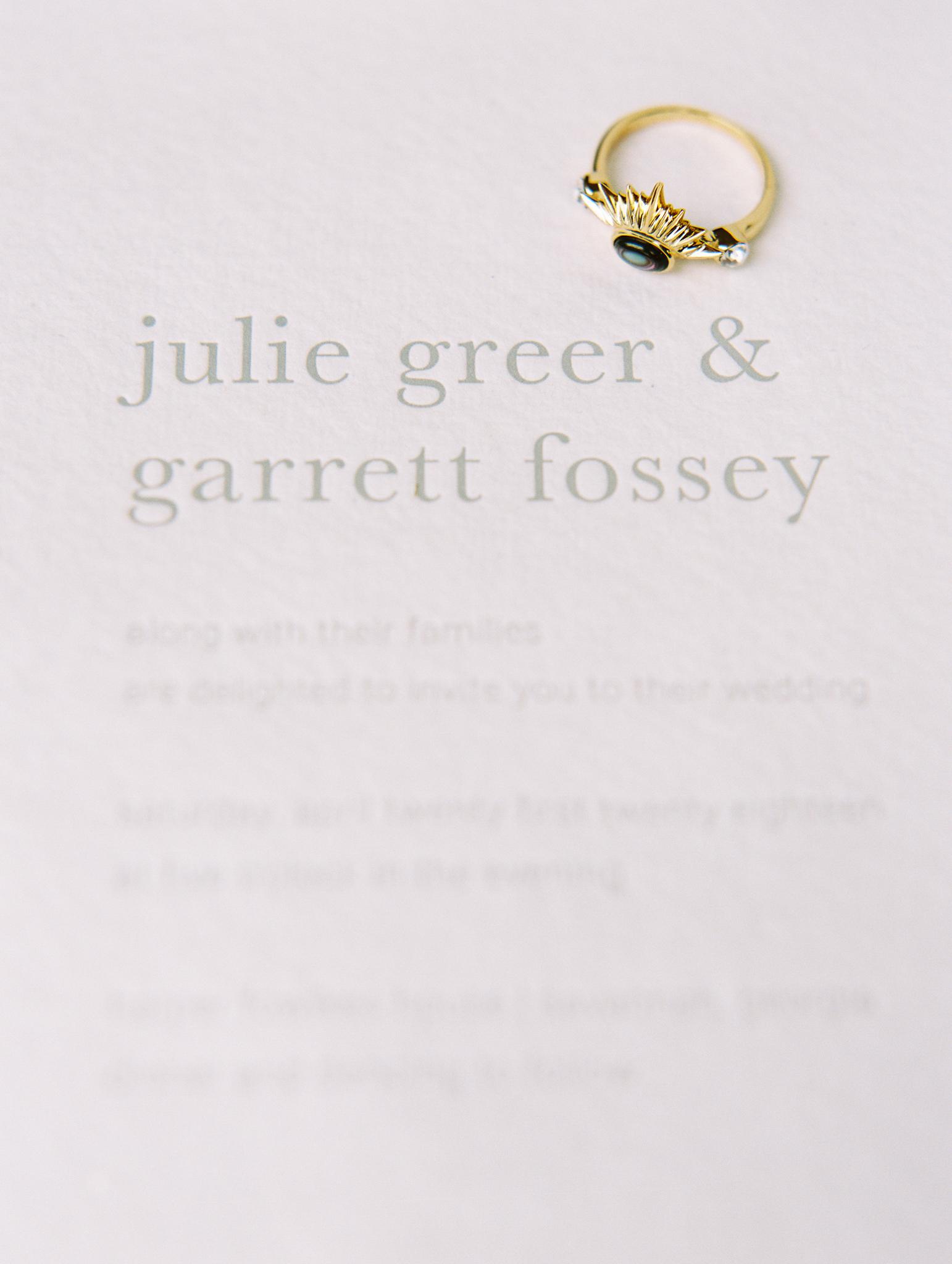 White grey wedding invitation letterpress minimal