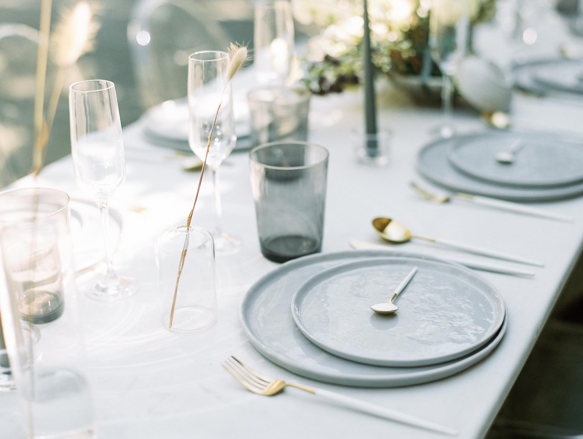 Neutral wedding table design grey white