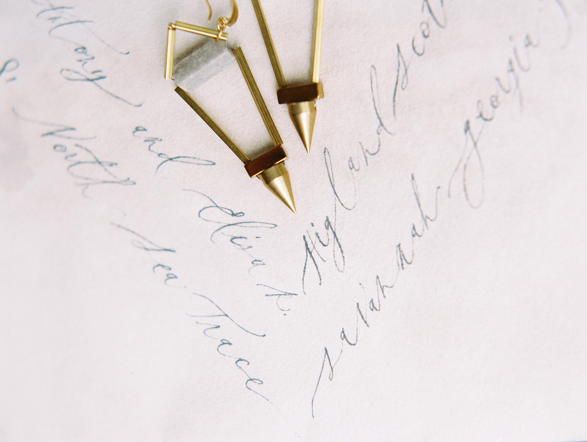 Modern earrings  gold wedding jewelry