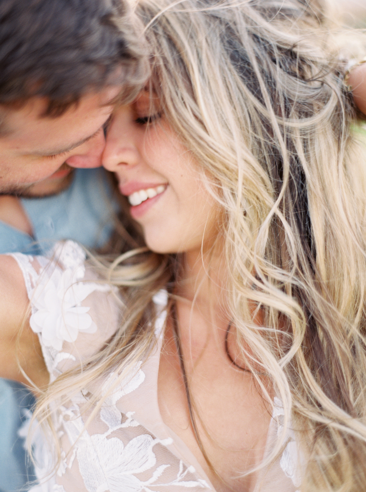 Romantic engagement poses film photography