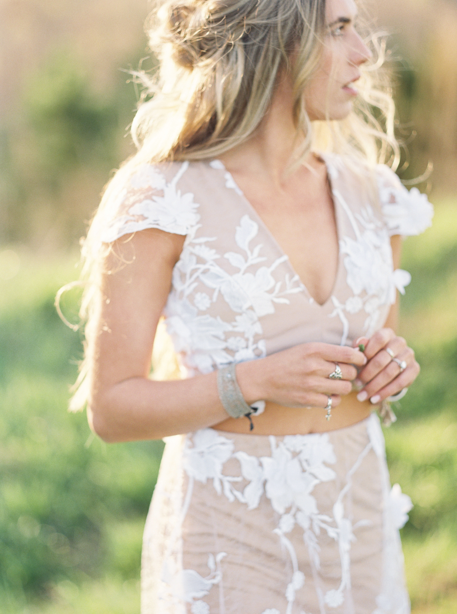 Engagement session dress white boho
