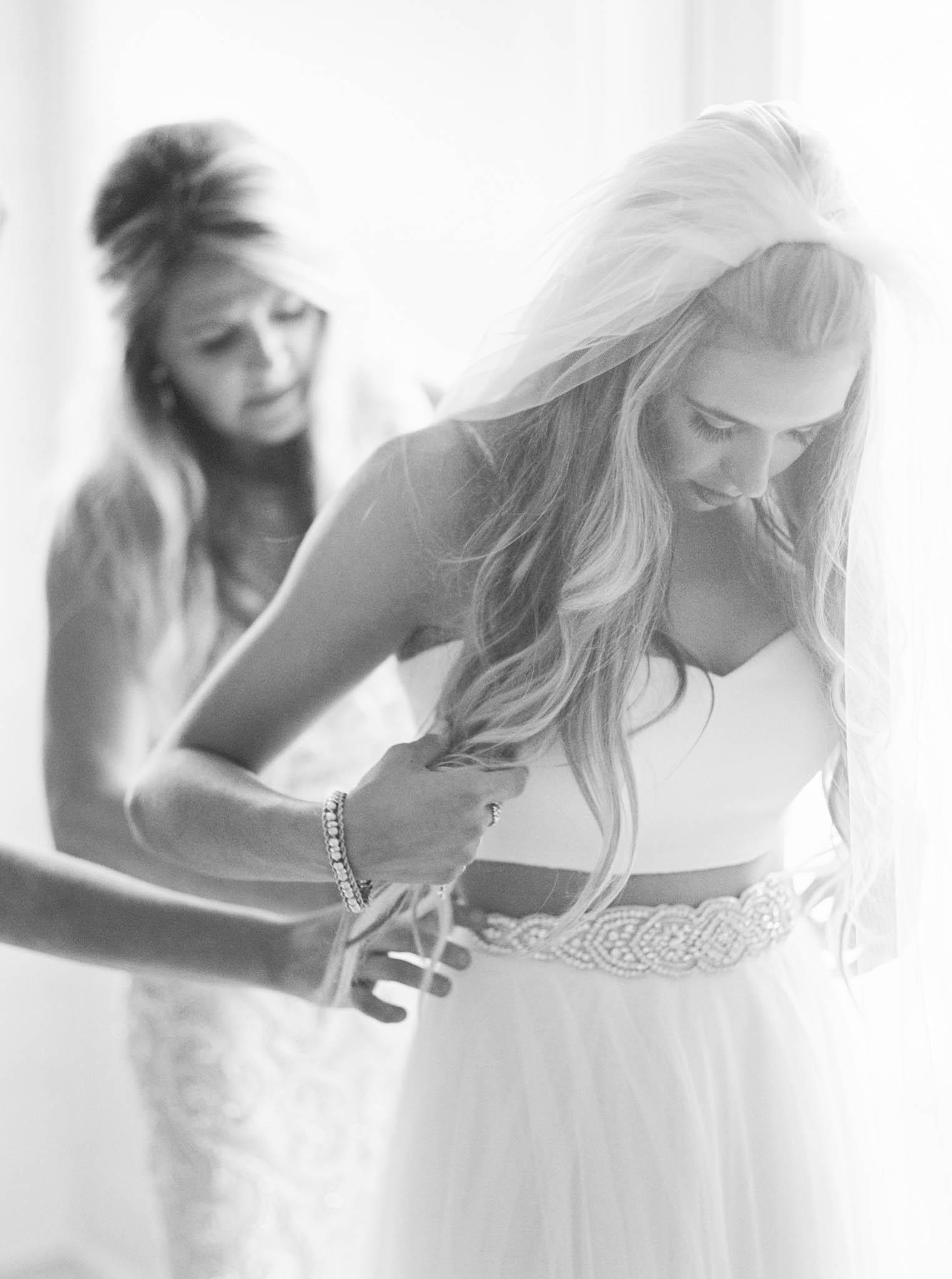 2 piece wedding dress with belt
