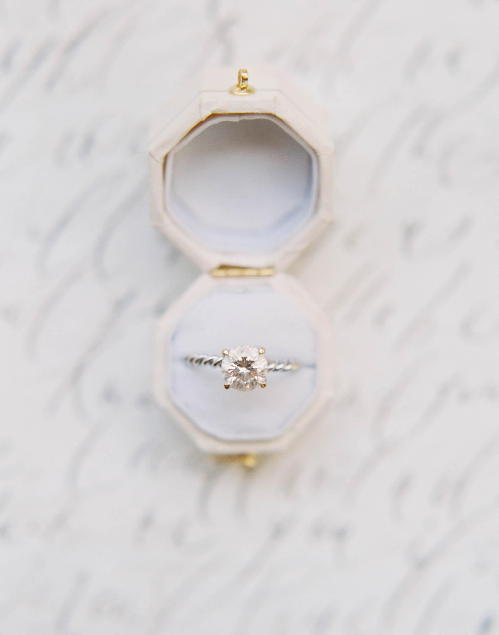 Wedding ring box vintage white