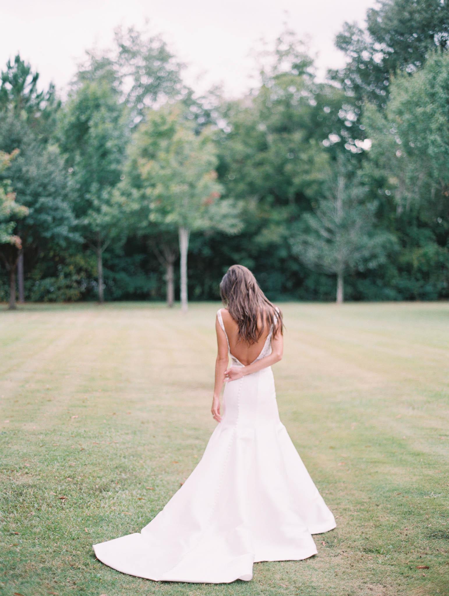 Low back wedding dress skirt