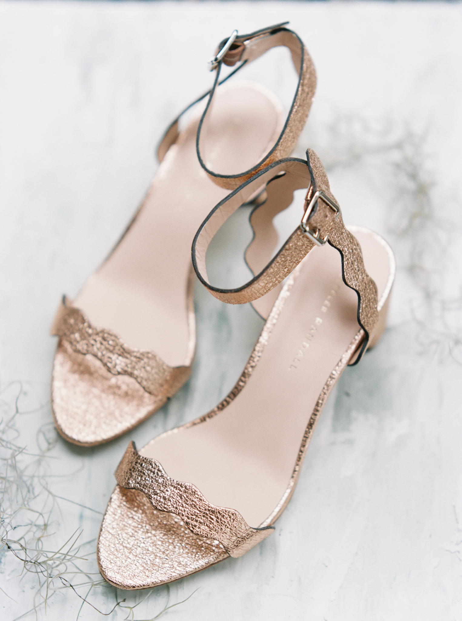 Rose gold sandals wedding shoes