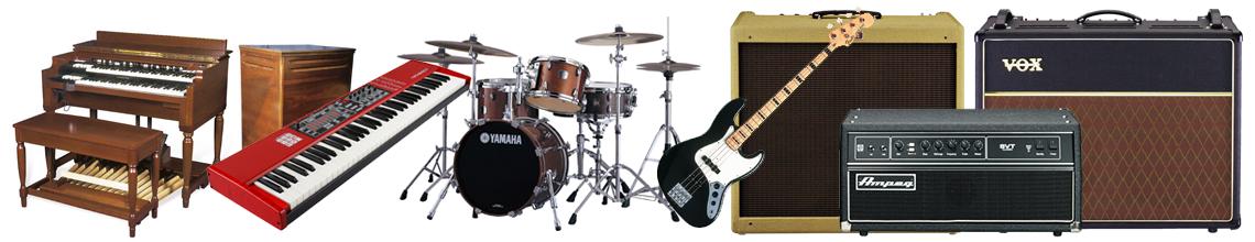 brands carried: Fender / MARSHALL / VOX / ROLAND / MESA BOOGIE / HAMMOND B3 / NORD / YAMAHA / AMPEG / KORG / FENDER RHODES / GIBSON / MARK BASS / DW CUSTOM / LATIN PERCUSSION / PEARL