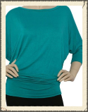 Here's a waist accentuating Dolman in 3/4 length sleeve. Instantly brighten your wardrobe outlook for the day with this casual find..