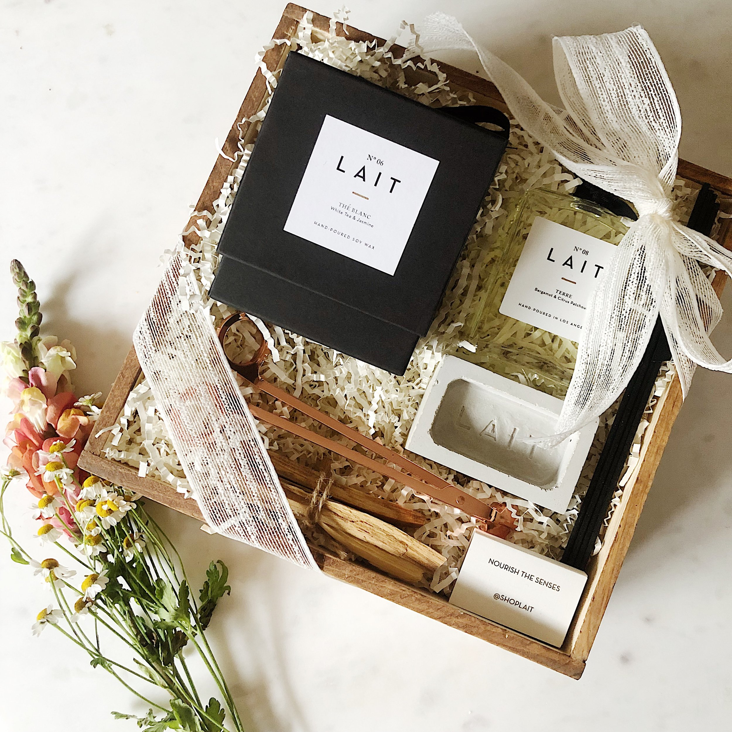 Deluxe Gift Sets - Arrives ready-to-gift in a reusable wooden box, filled with LAIT essentials that you can customize.