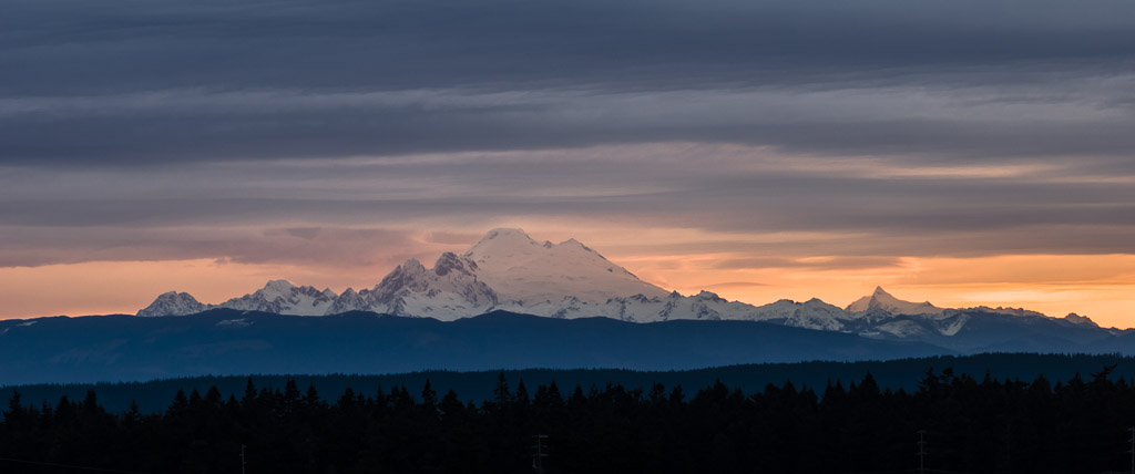 Sunrise on Mt Baker and Mt Shuksan, North Cascades