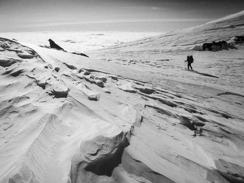Crossing Denali Pass on a ski descent of North America's highest peak, Denali National Park, Alaska