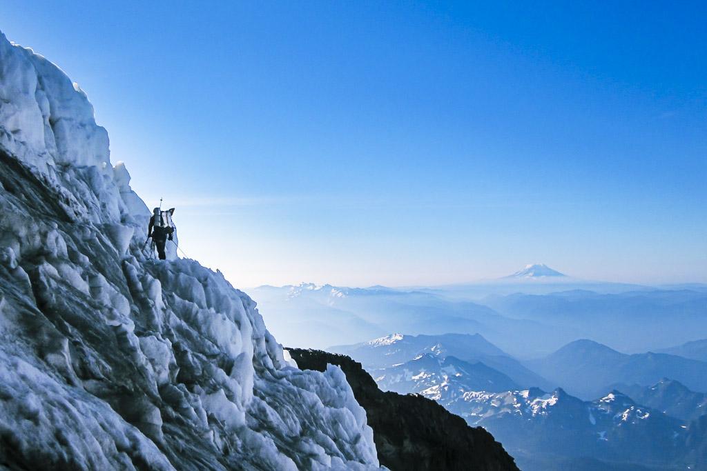 A climber on the Kautz Glacier Route on Mt Rainier, Mount Rainier National Park, Washington