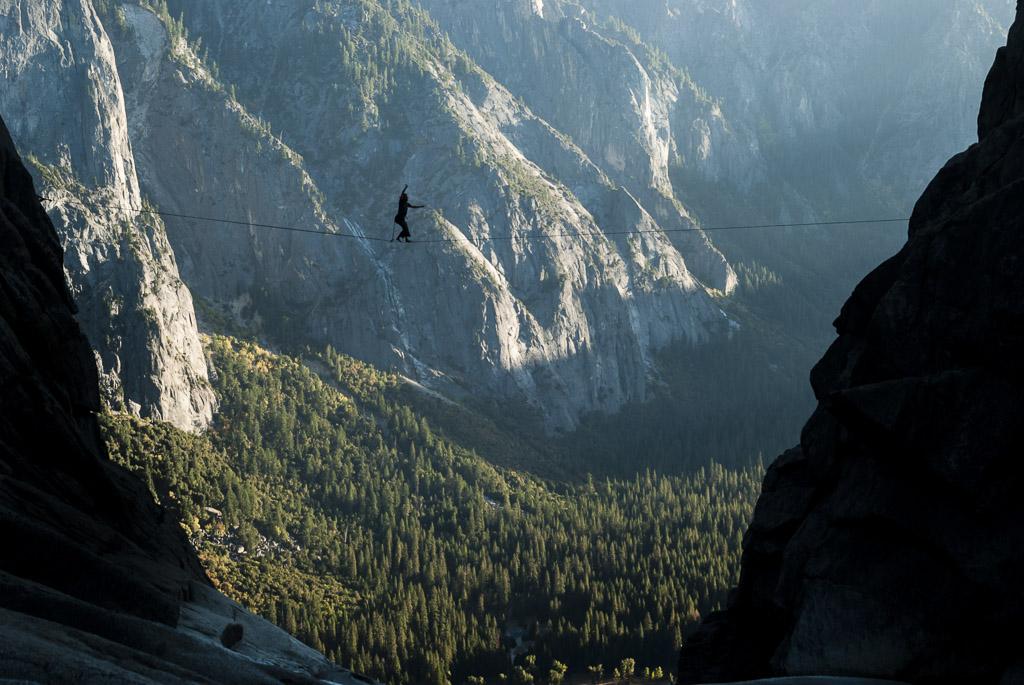 Slacklining above the Yosemite Valley, Yosemite National Park, California