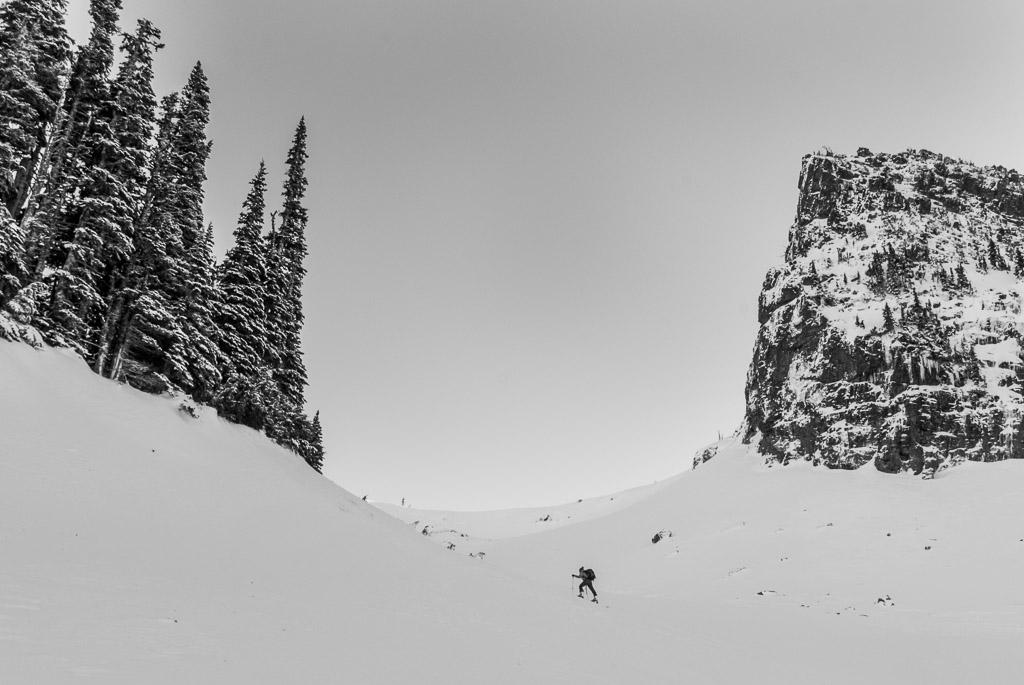 Backcountry skier in the Tatoosh Range, Mount Rainier National Park, Washington