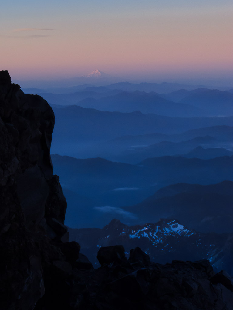 First light and alpenglow on Mt Hood and the valleys below