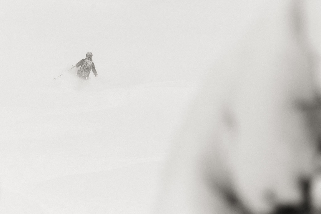 Storm skiing in the Snoqualmie Pass backcountry, Washington