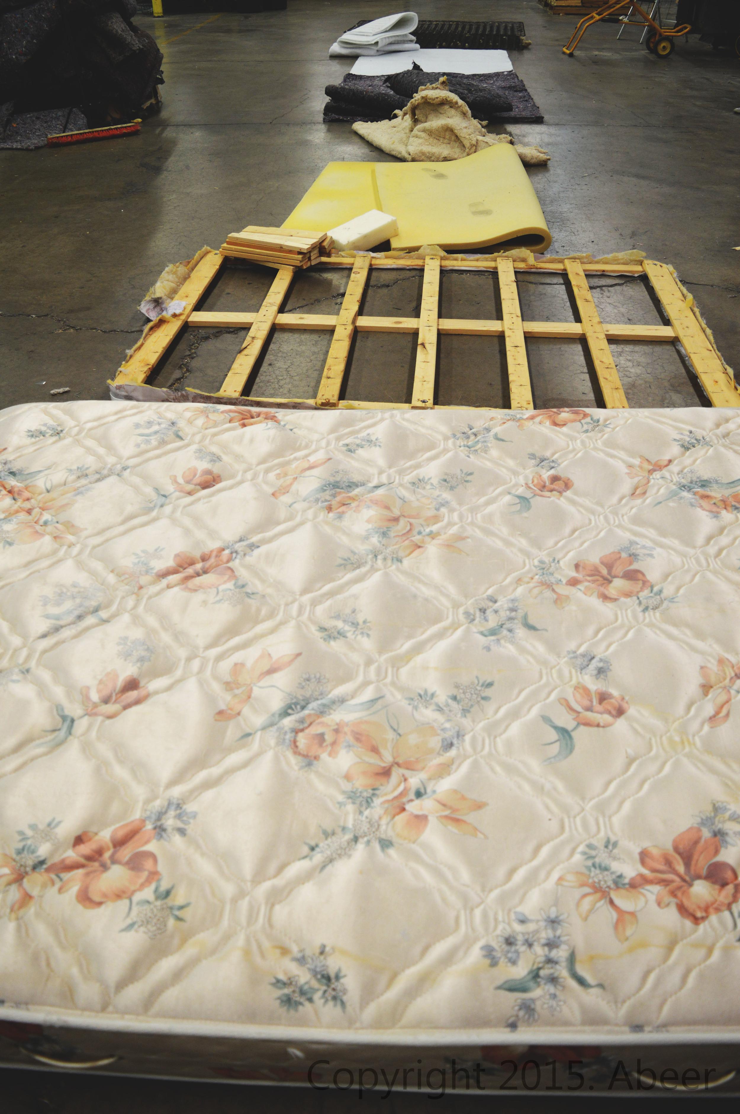 Breakdown of a Mattress - wood, foam, cotton, felt, metal.