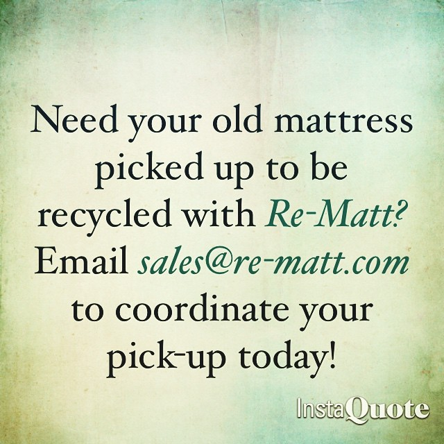 Email sales@re-matt.com to coordinate a pick-up for your used mattress! #rematt #mattressrecycling #recycle #oldmattress #boxspring #green #greenliving #recycling #yyc #alberta #greenalternative