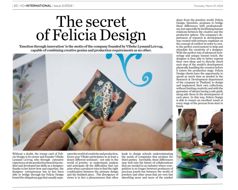 VIORO Daily Basilea. Italian.Editorial: The Secret of Felicia Design.