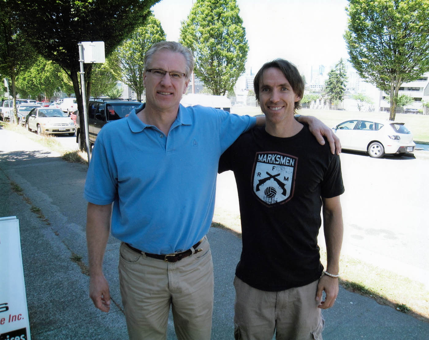 """Tom and Steve Nash during the production of """"Into the Wind"""""""