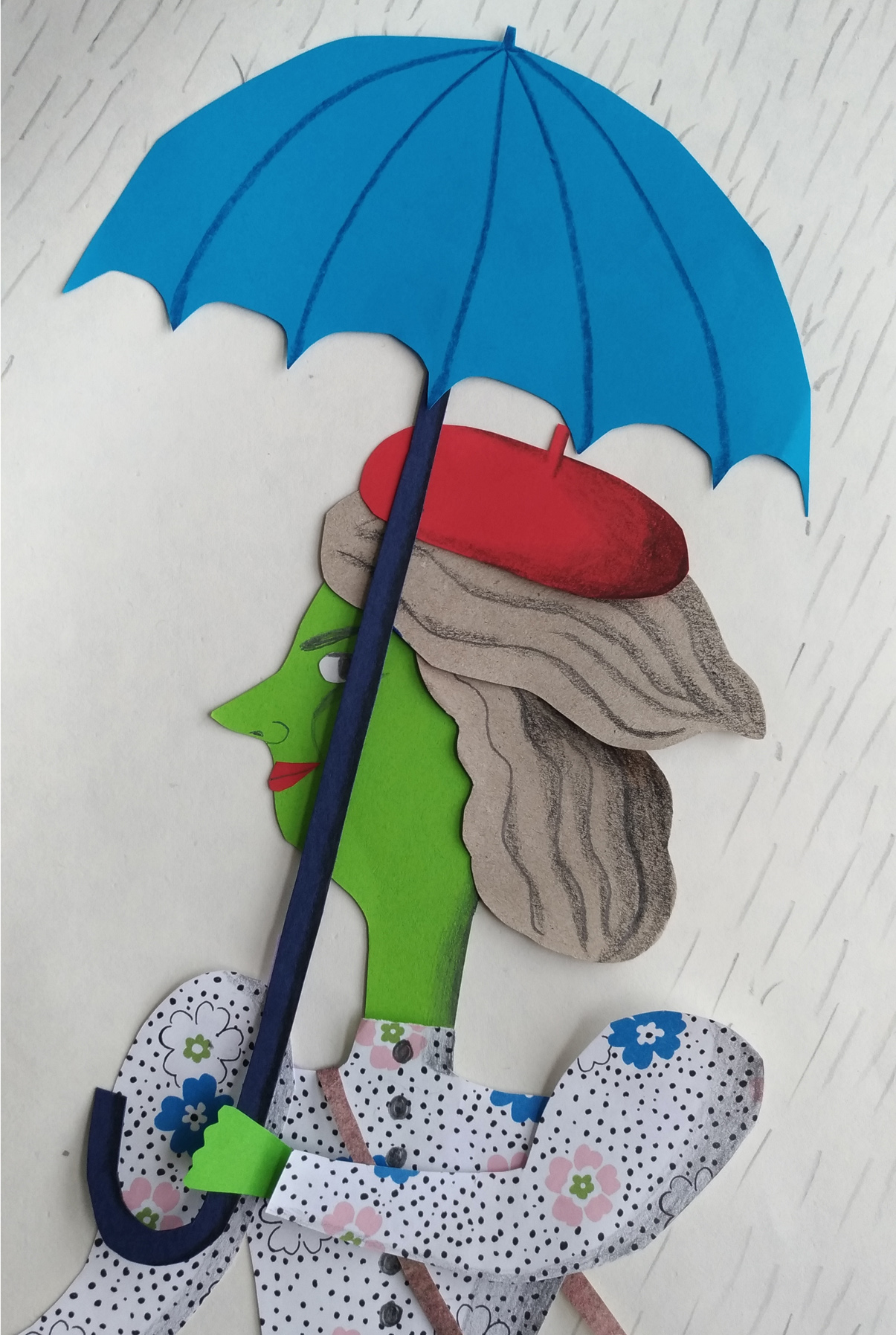 Rainy day (close up) - collage in cut paper, pencil and ribbon. A personal work made as a teaching example