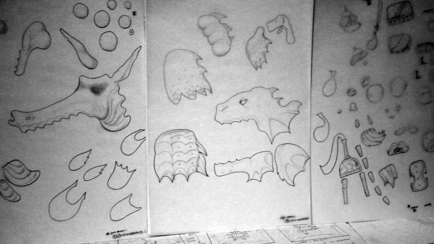 creature chaos: some of the many drawings that have been created for Galdo's Gift