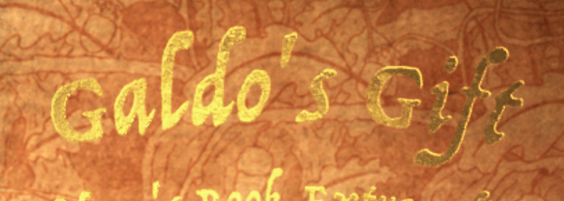 pure gold... work in progress lettering for Galdo's Gift inside cover