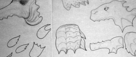 Close up of monster storyboard