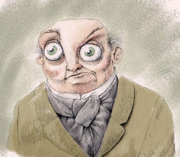 Wide-eyed man illustration