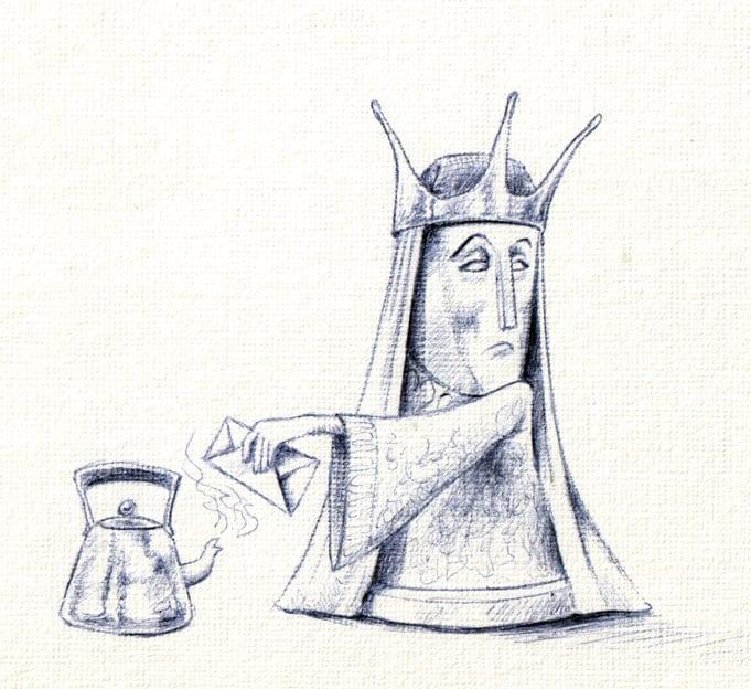 Queen Steaming Letter Illustration