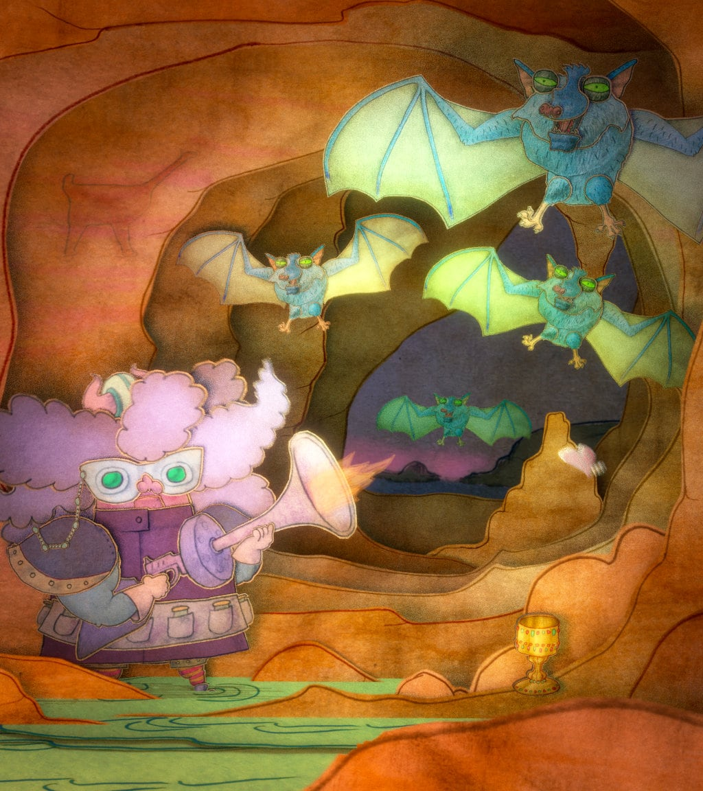 Granny Blasting Bats Illustration