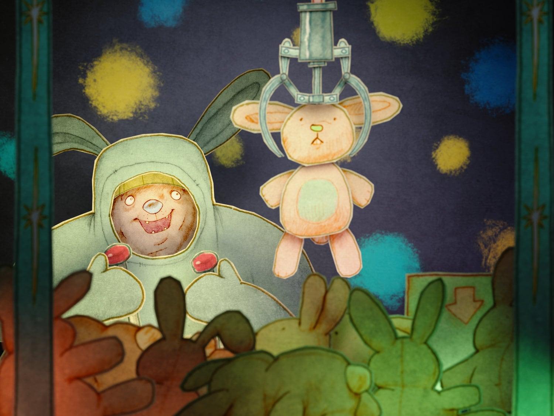 Bunny Boy and Toys Illustration