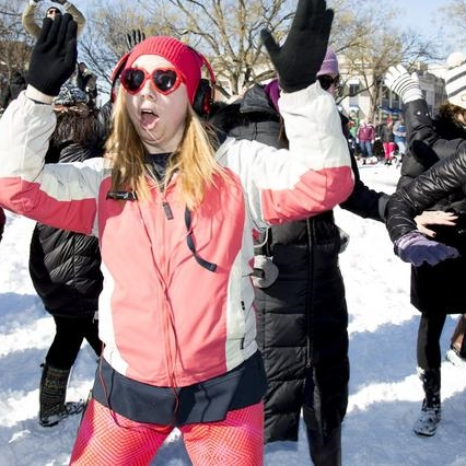 Dupont Circle Played Host to a Snowball Fight and A Silent Disco