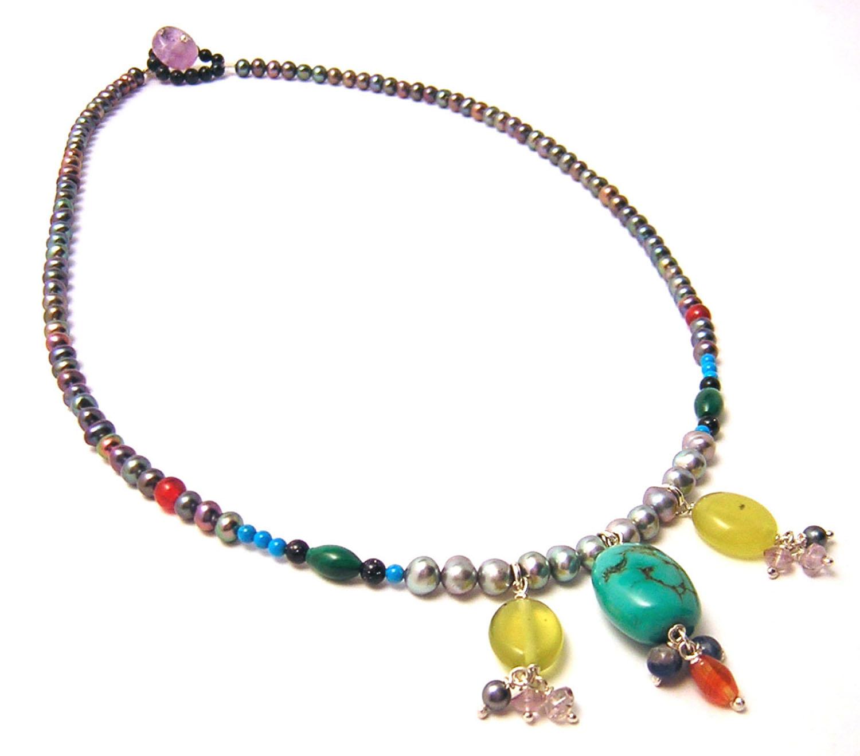 Katherine Bree Maharajah simple drop necklace blue.jpg