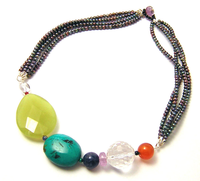 Katherine Bree Maharajah multi strand necklace blue.jpg