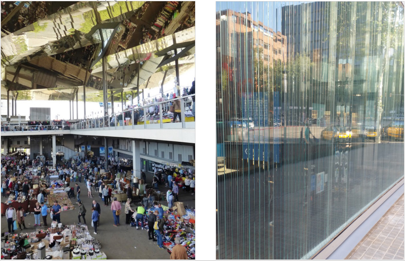 The Canopia Urbana at the Plaça Glories Flea Market (left) and the glass wall of the Barcelona Roca Gallery (right)