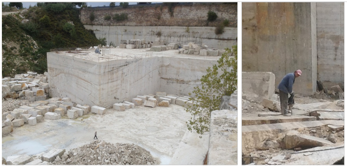 Visit to a working travertine quarry in Tivoli, outside Rome.
