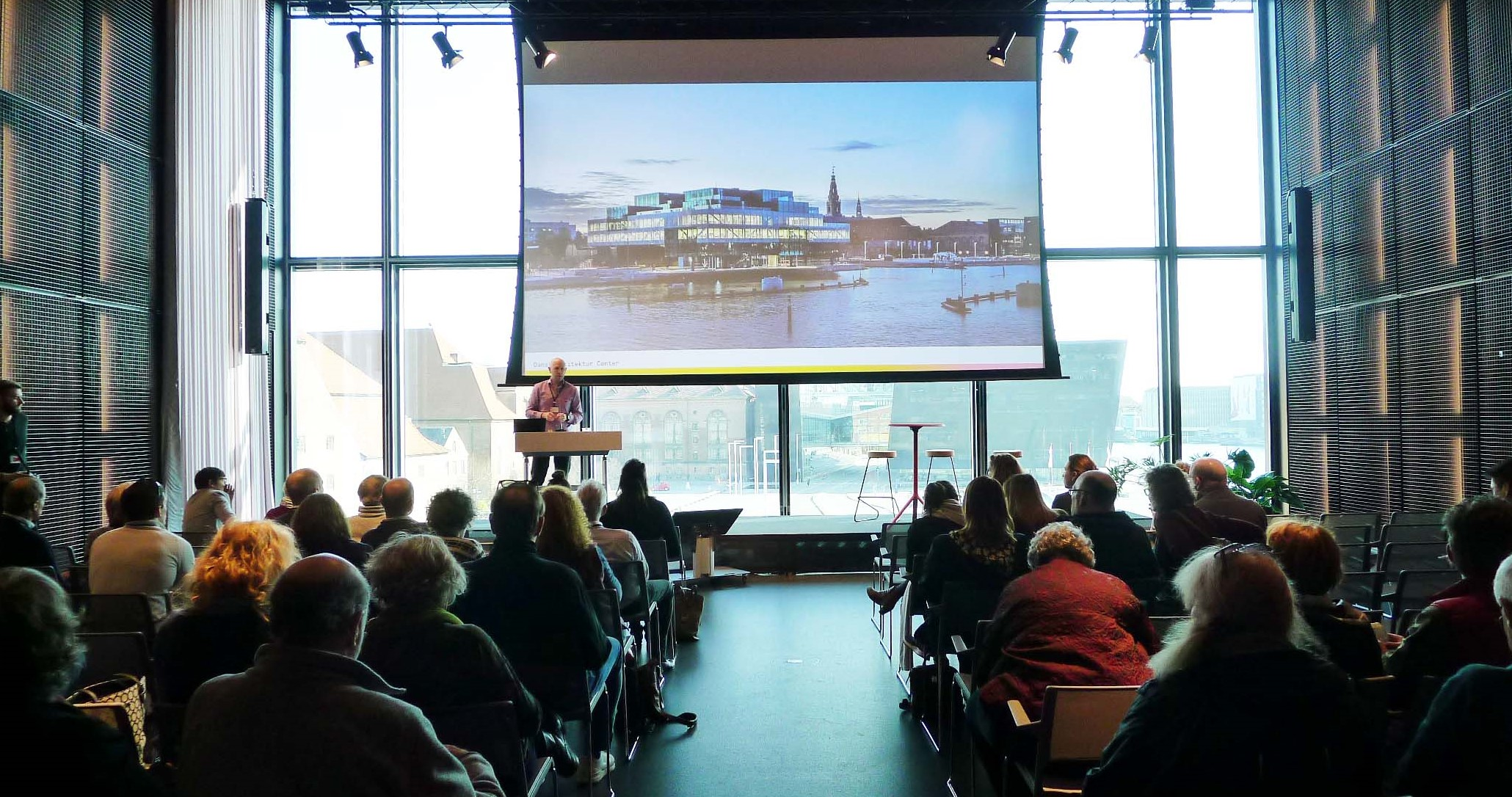OMA's BLOX / The Danish Architectural Centre from the inside, with harbour views… Photo Credit: E Fitzpatrick, AIA