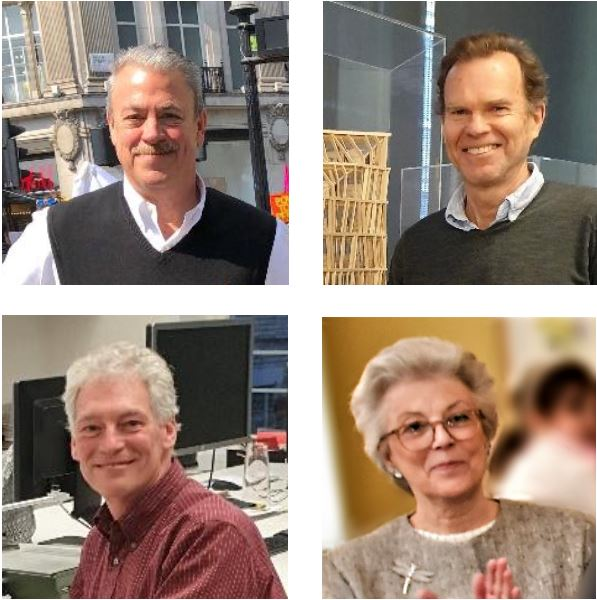 The first four presidents of the AIA UK Chapter 1992-1996, clockwise from upper left: Stephan Reinke, FAIA RIBA / David Walker, RIBA / Justine Kingham, AIA / Michael Lischer FAIA. (Photo credit: L King)