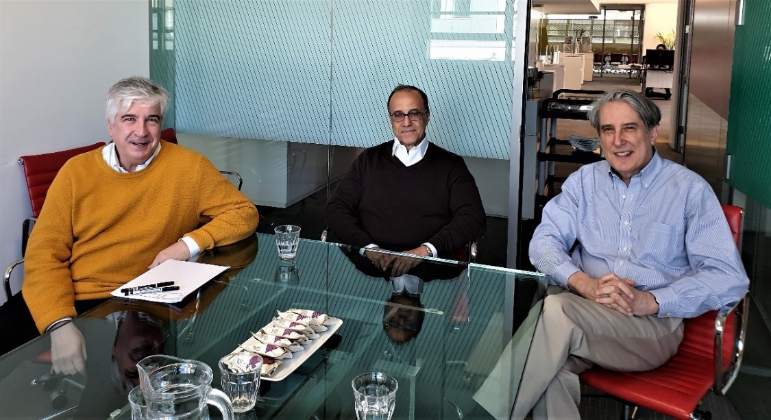 PLP Architecture's Office: Partner, Kevin P Flanagan, AIA FRAIC / Founding Partner, Lee Polisano, FAIA RIBA / Founding Partner, David Leventhal, FAIA. (Photo credit: L King)