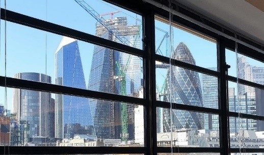 PLP Architecture's 22 Bishopsgate: Approaching its final height May 2019, as seen from PLP's office. (Photo credit: L King)