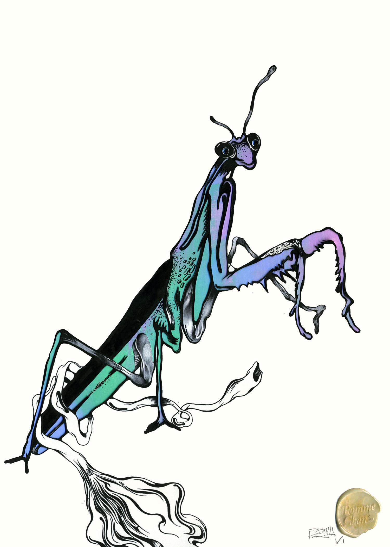 Mantis (handpaint and papercut) copy.jpg