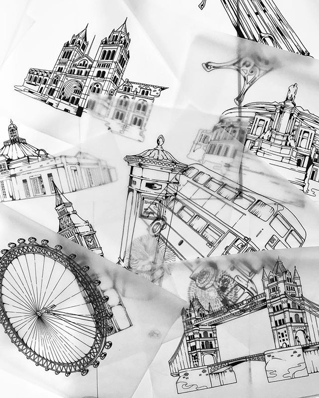 Currently working on something that inspired from my beloved #London , glad to get my hands drawing some iconic building & #Architecture 😆can't wait to tell you more about this project. #nationalhistorymuseum #PostBox #Phonebooth #bigben #towerbridge #hydepark #Serpentine #RoyalAlbertHall #happypommestudio #drawing #illustration