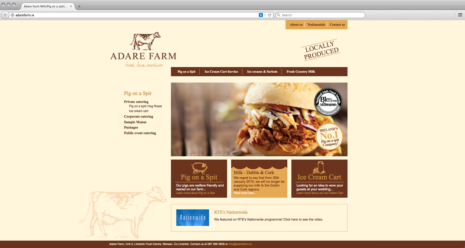 Adare Farm Website