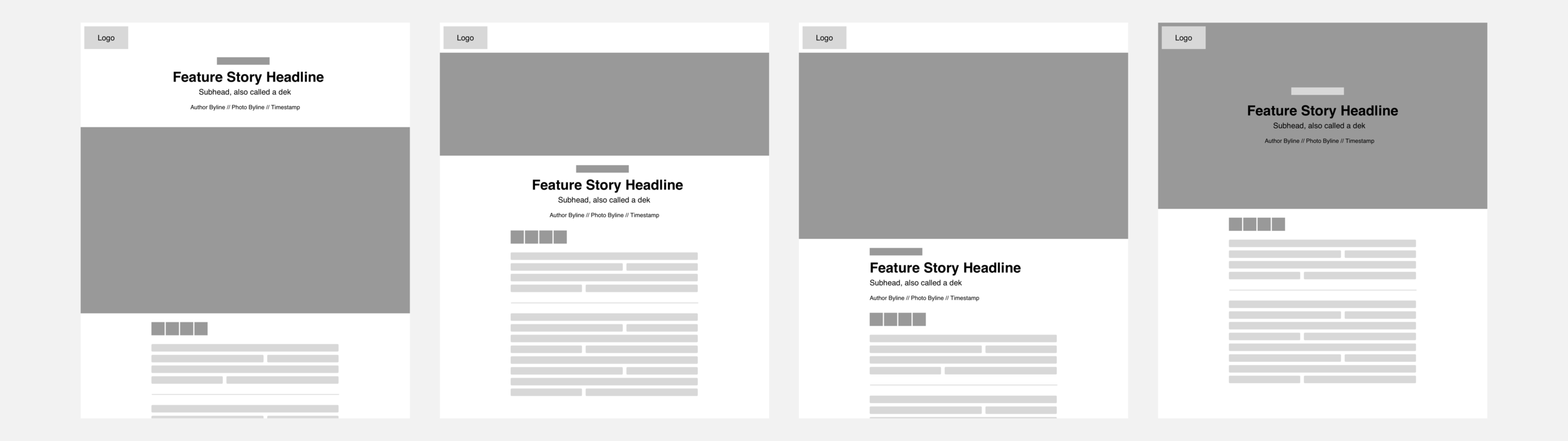 Four configurable layout options from left to right: headline above the main image, headline below a cropped image, headline below the main image, and headline overlaid on the image