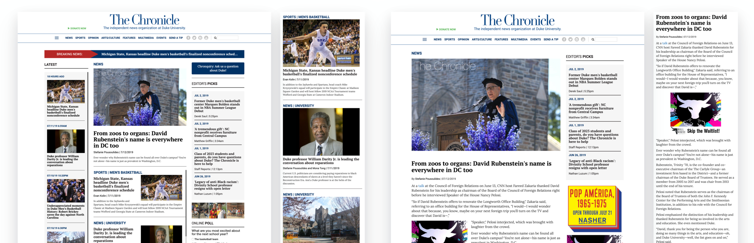 Desktop and mobile screenshots of the original homepage (left) and article page (right)