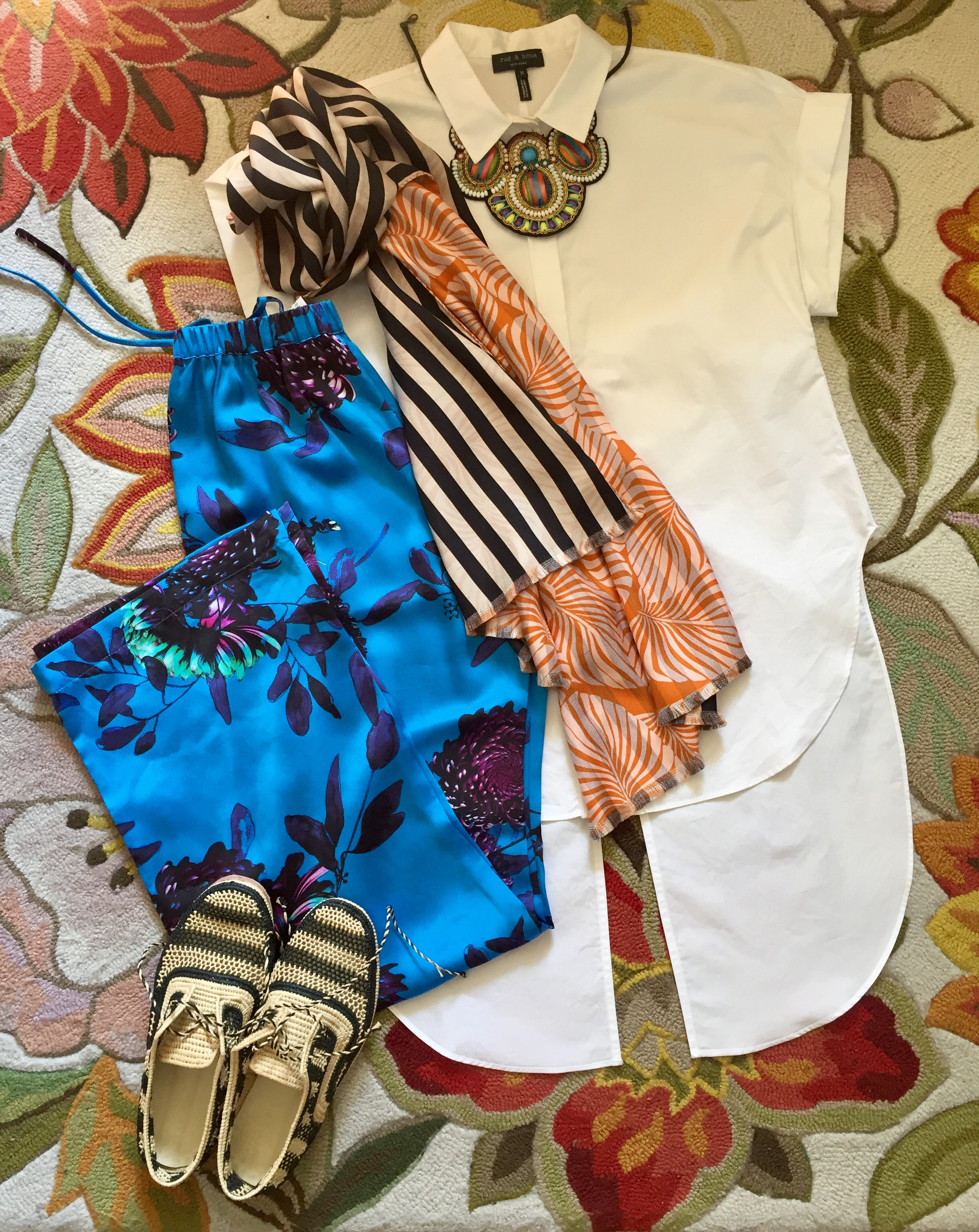 Styling of our Orient Bloom Pyjama Pants by Jennifer Wigham