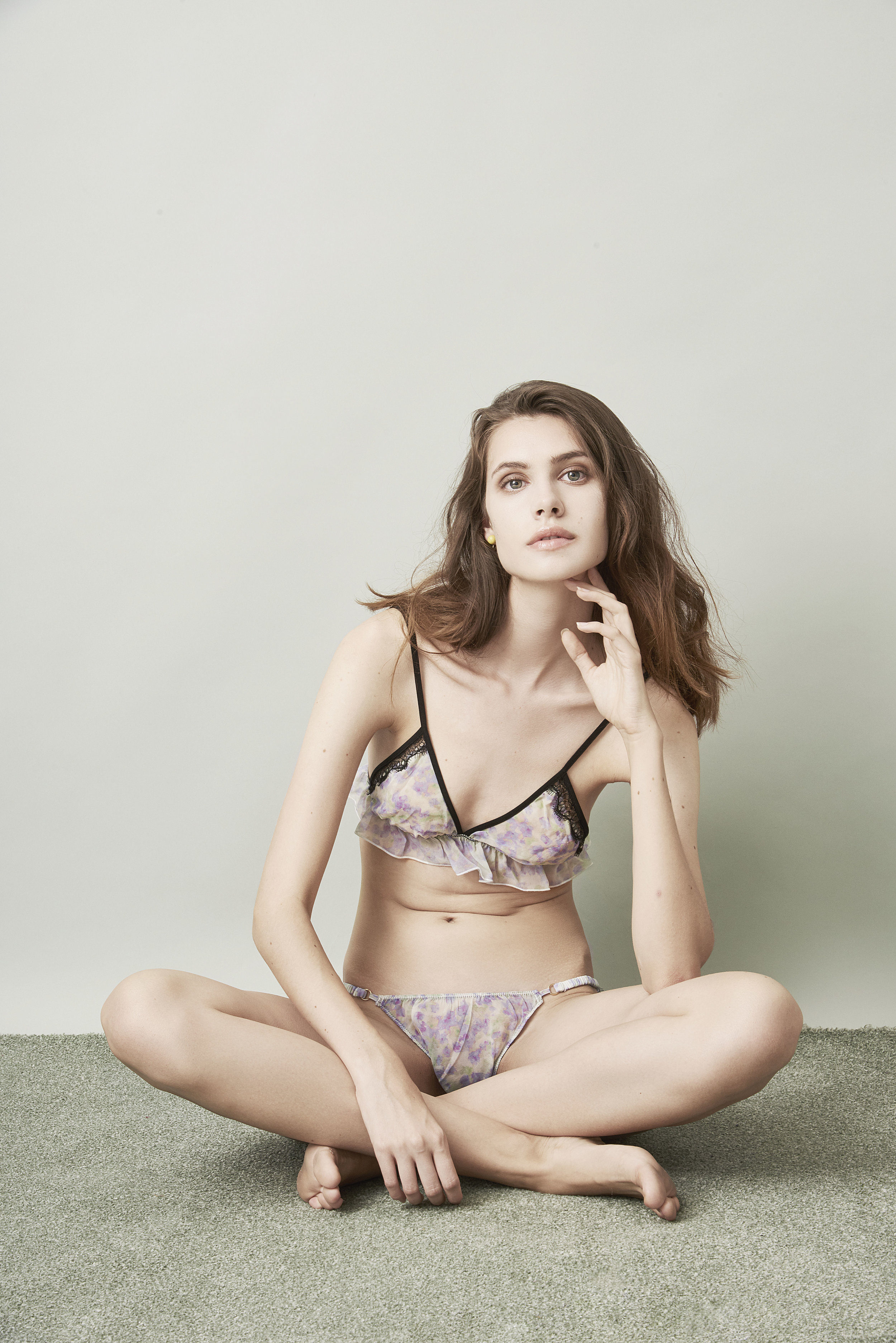 Violet & Wren Vita Collection Pressed Petals Frill Bralette and Tanga