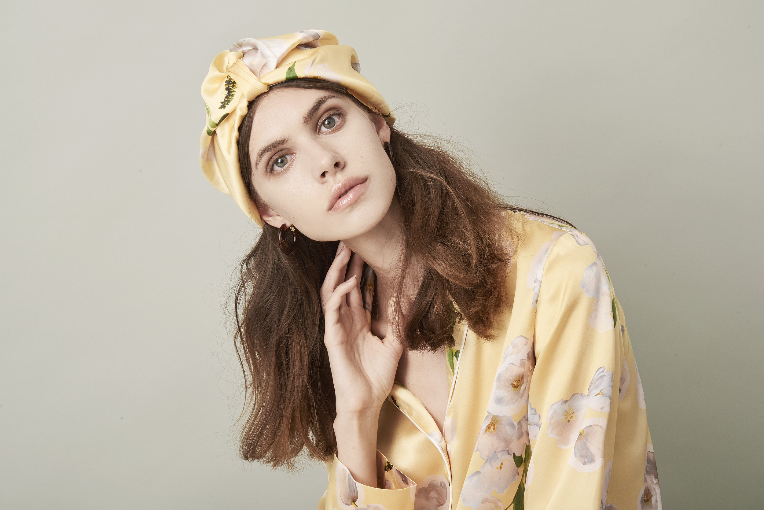 Violet & Wren Vita Collection Sundrenched Tulip Pyjama Shirt and Turban